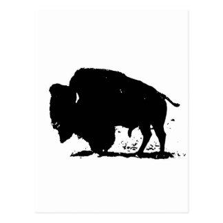 Silueta negra y blanca del búfalo postal