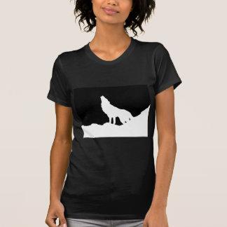 Silueta negra y blanca única del lobo del arte pop playera