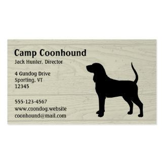 Silueta negra y del moreno del Coonhound del perro Tarjetas De Visita