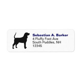 Silueta negra y del moreno del Coonhound Etiquetas De Remite