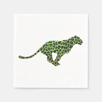 Silueta negra y verde del leopardo servilleta desechable
