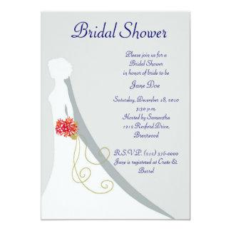 Silueta nupcial de la novia de la ducha invitación 12,7 x 17,8 cm