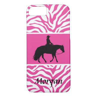 Silueta occidental negra del caballo del placer funda iPhone 7