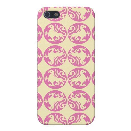 Silueta Pern de Gryphon - rosado y amarillo claro iPhone 5 Funda