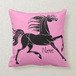 Silueta personalizada del arte del caballo almohada
