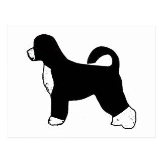 silueta portugese del color del perro de agua tarjeta postal