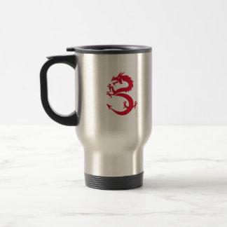 Silueta Prancing del dragón rojo retra Taza De Viaje