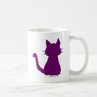 Silueta púrpura del gato taza de café
