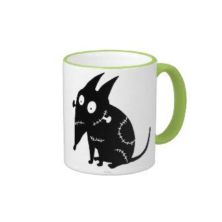 Silueta que se sienta vivaracha taza de café