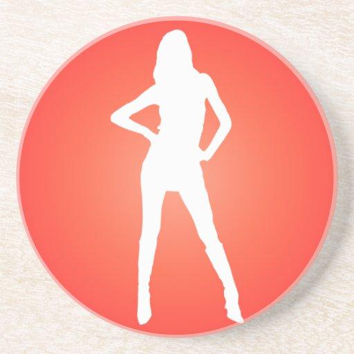 Silueta radial roja del chica posavasos diseño