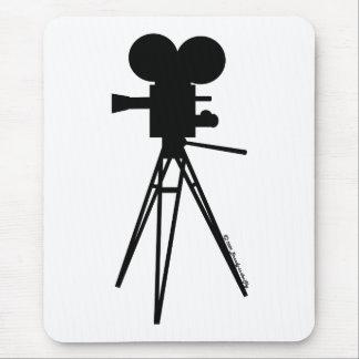 Silueta retra de la cámara de película mouse pad