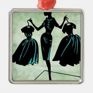 Silueta retra del fashionista adorno navideño cuadrado de metal