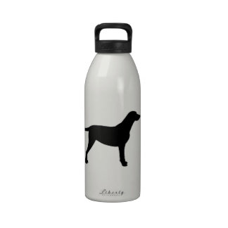 silueta revestida rizada del perro perdiguero botella de beber