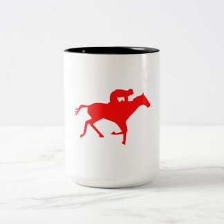Silueta roja de la carrera de caballos taza dos tonos