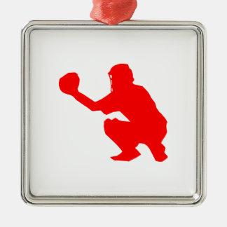 Silueta roja del colector del béisbol adorno cuadrado plateado