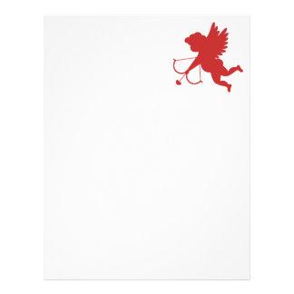Silueta roja del Cupid Membrete A Diseño