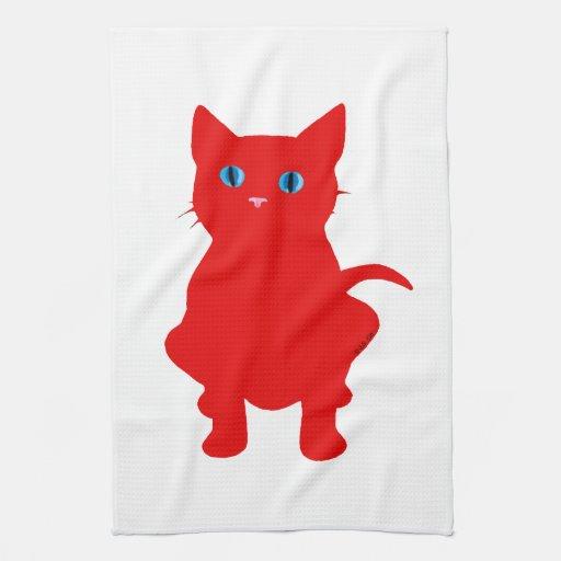 Silueta roja del gato toallas