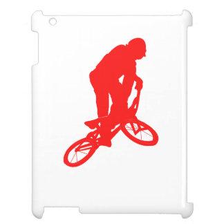 Silueta roja del motorista de BMX