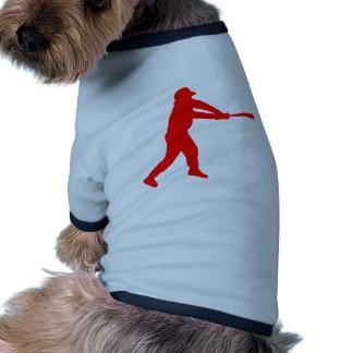 Silueta roja del talud del béisbol camisa de perro