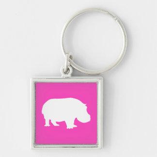 Silueta rosada bonita del hipopótamo llavero cuadrado plateado