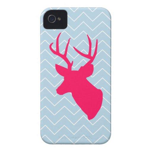Silueta rosada de neón de los ciervos iPhone 4 protectores