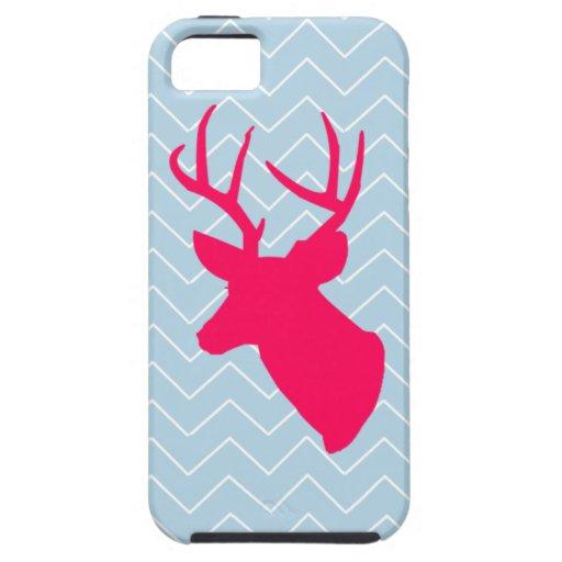 Silueta rosada de neón de los ciervos iPhone 5 Case-Mate protectores