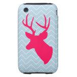 Silueta rosada de neón de los ciervos tough iPhone 3 cobertura
