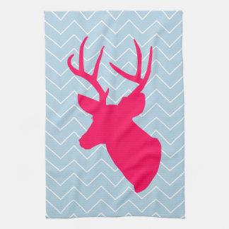Silueta rosada de neón de los ciervos toallas de cocina