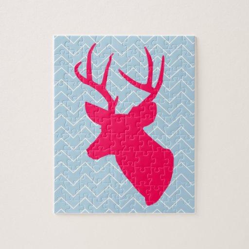 Silueta rosada de neón de los ciervos puzzles