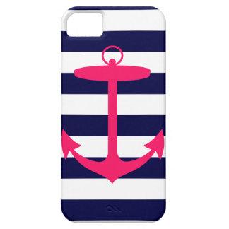 Silueta rosada del ancla funda para iPhone SE/5/5s