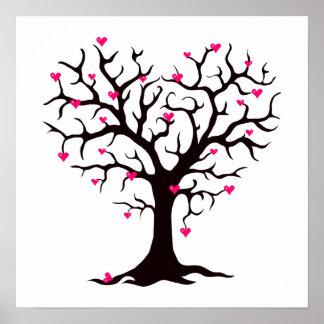 Silueta rosada del árbol del corazón póster