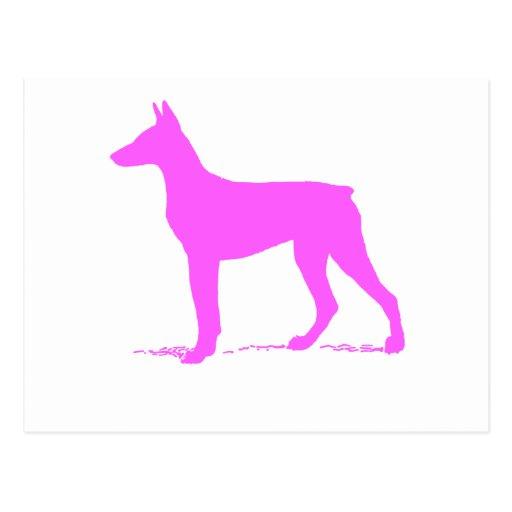Silueta rosada del Doberman Postal