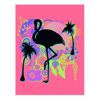 Silueta rosada del flamenco postales