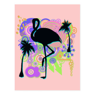 Silueta rosada del flamenco tarjetas postales