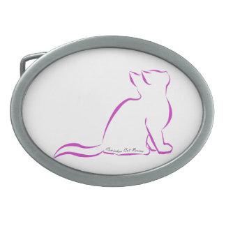 Silueta rosada del gato, texto interior hebilla de cinturon oval