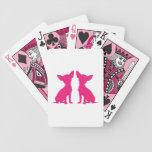 Silueta rosada hermosa linda del perro de la chihu barajas de cartas