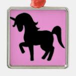 Silueta rosada negra del unicornio ornamentos de navidad