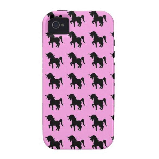 Silueta rosada negra del unicornio Case-Mate iPhone 4 carcasa