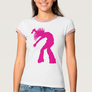 Silueta rosada salvaje enrrollada del bailarín y poleras
