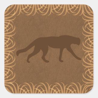 Silueta salvaje del gato del tema del safari pegatina cuadrada
