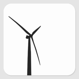 Silueta simple de la energía del verde de la turbi calcomanía cuadradas
