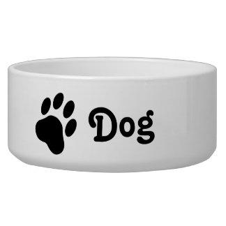 Silueta simple de la pata del perro con el perro comedero para mascota