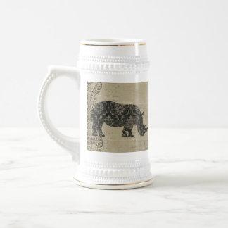 Silueta Stein de los rinocerontes Jarra De Cerveza