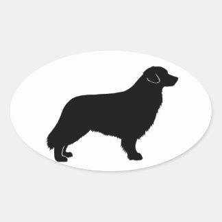 silueta tocante del perro perdiguero del pato de pegatina oval personalizadas