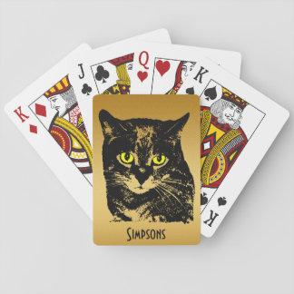 Silueta transparente misteriosa del gato negro barajas de cartas