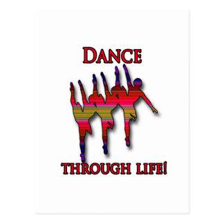Silueta triple de la bailarina con el texto tarjetas postales