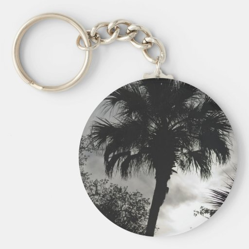 Silueta tropical llavero redondo tipo pin