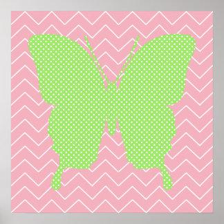 Silueta verde de la mariposa del lunar póster