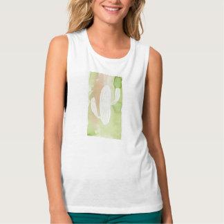 Silueta verde del cactus de la acuarela playera con tirantes