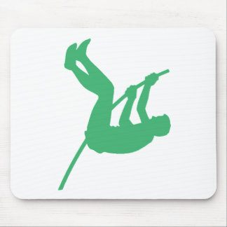 Silueta verde del saltador de poste tapetes de ratones
